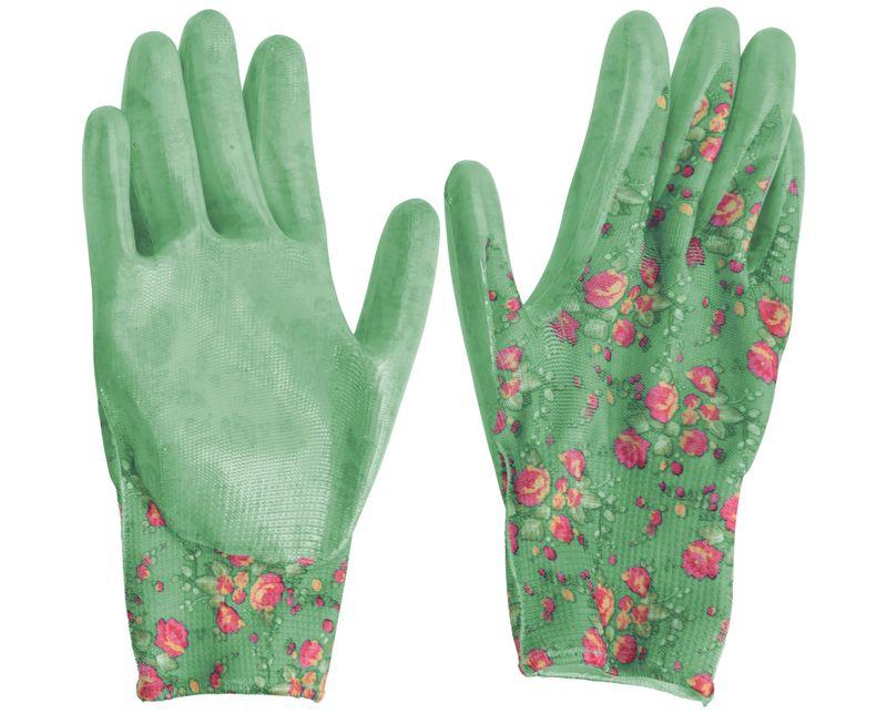 Gartenhandschuhe L Damen Garten Handschuhe Gartenarbeit Blumenmotiv Grün