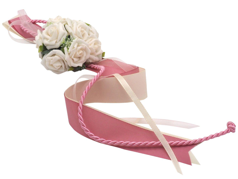 Autodeko Autoschmuck Blumengesteck Stuhlschleife Creme Rosa Mauve