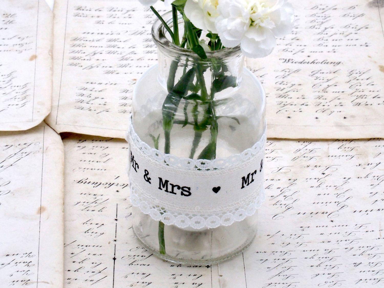 Vase + 2 Teelichtglas Tischdeko Vintage Hochzeit Spitze Mr & Mrs Creme