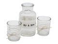 Vase + 2 Teelichtglas Tischdeko Vintage Hochzeit Spitze Mr & Mrs Creme 1
