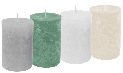 4 Stumpenkerzen Kerzen Salbei Grün Grau Creme Weiß