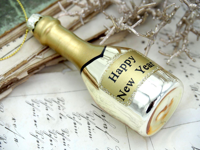 Anhänger Glas Sektflasche Champagner Gold Christbaumschmuck Weihnachtsbaumschmuck Weihnachten Silvester Party