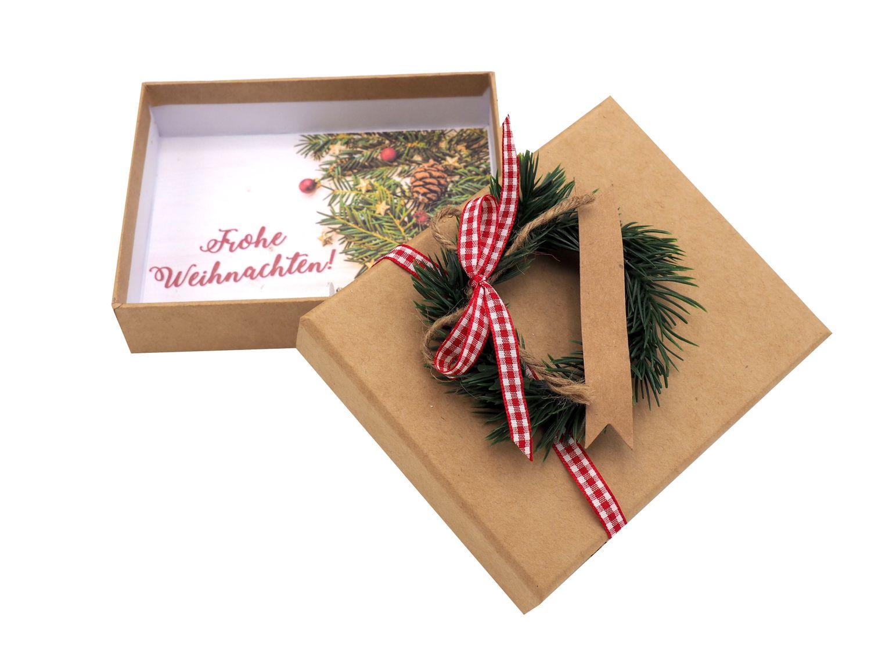 Geldgeschenk Verpackung Weihnachten Tanne Kranz Rot Natur Geschenk Gutschein