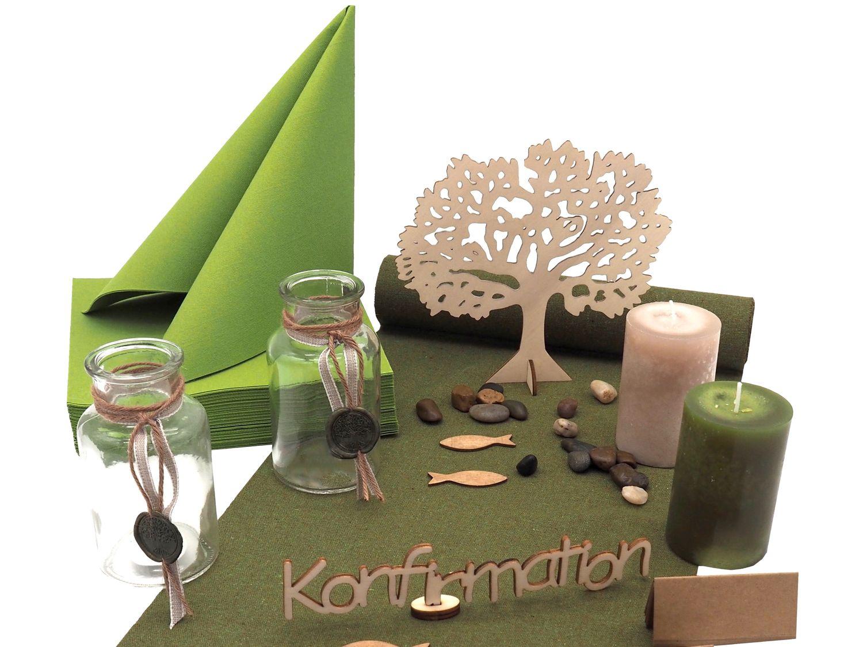 Tischdeko Konfirmation Kommunion Grün Olive Holz SET 20 Personen ELIAS