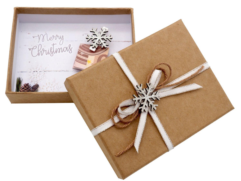 Geldgeschenk Verpackung Weihnachten Schneeflocke Weiß Natur Geschenk Gutschein