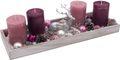 Adventsgesteck Weihnachten Weihnachtsdeko Tablett Hirsch Silber Rosa Beere Lichterkette Deko 001