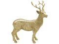 Hirsch Rentier Dekofigur Gold Glitzer Stehend 16 cm Polyresin Deko Tischdeko Weihnachten Winter Wald Jagd 2