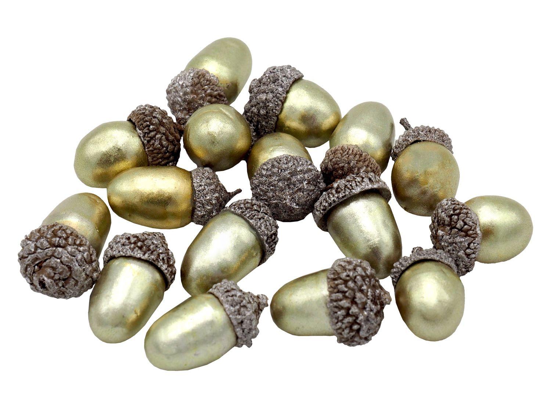 16 Eicheln Streudeko Gold Tischdeko Herbst Winter Nuss Weihnachten