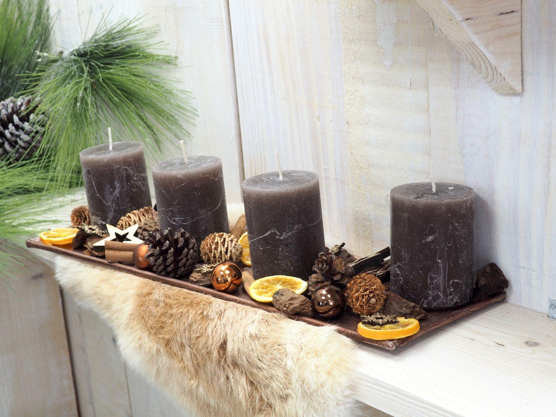 Adventsgesteck Weihnachten Weihnachtsdeko Tablett Kupfer Braun Streudeko Deko