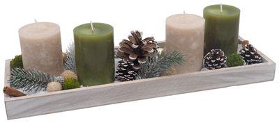 Adventsgesteck Weihnachten Weihnachtsdeko Tablett Taupe Grün Zapfen Deko
