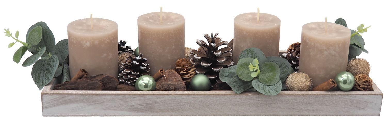 Adventsgesteck Weihnachten Weihnachtsdeko Tablett Salbei Eukalyptus Taupe Zapfen
