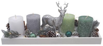 Adventsgesteck Weihnachten Tablett Holz Mint Grün Hirsch Silber