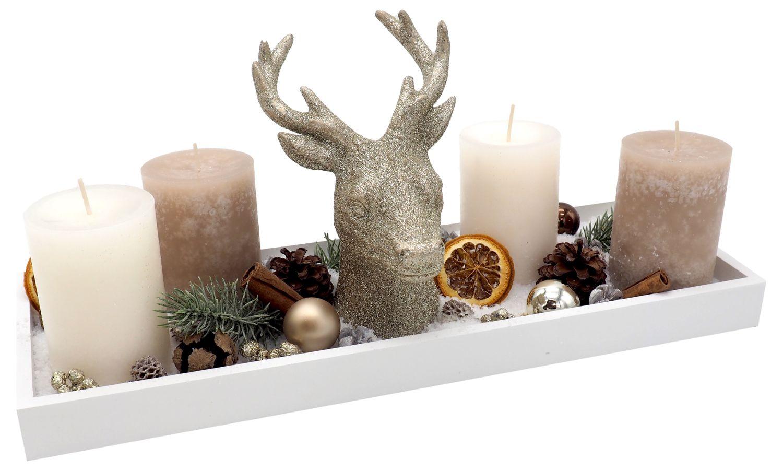 Adventsgesteck Weihnachten Weihnachtsdeko Tablett Hirschkopf Creme Beige Gold Kerzen Streudeko Tischdeko