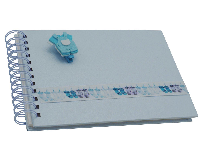 Gästebuch Album Fotoalbum Baby Geburt Taufe Blau Babyalbum Erinnerungsalbum Junge Geschenk