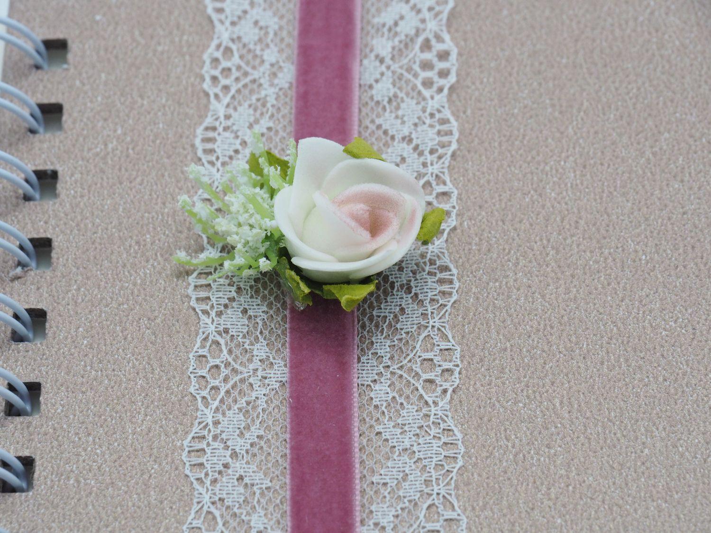 Gästebuch Album Fotoalbum Hochzeit Hochzeitsalbum Vintage Taupe Spitze Rosa Rose