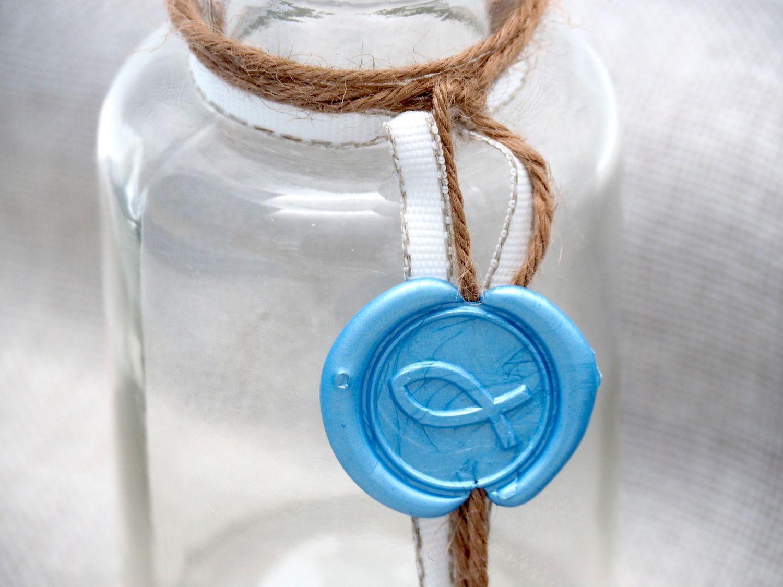 2 Vasen Kommunion Konfirmation Siegel Blau Fisch Tischdeko Hellblau Glas NOAH
