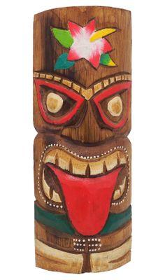 Tiki Holz Maske Handbemalt Wandmaske Holzmaske Bunt