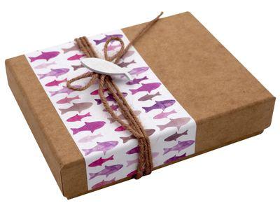 Geldgeschenk Verpackung Mauve Lila Fisch Weiß Kommunion Konfirmation