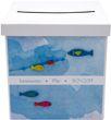 Briefbox Kartenbox MIT NAMEN Kommunion Konfirmation Fische Blau Aquarell 2