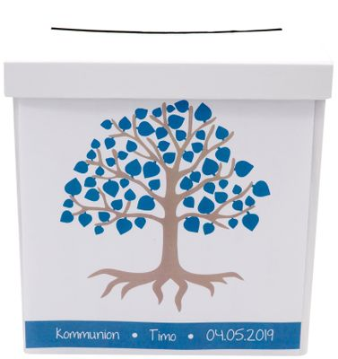 Briefbox Kartenbox MIT NAMEN Kommunion Konfirmation Baum des Lebens Petrol