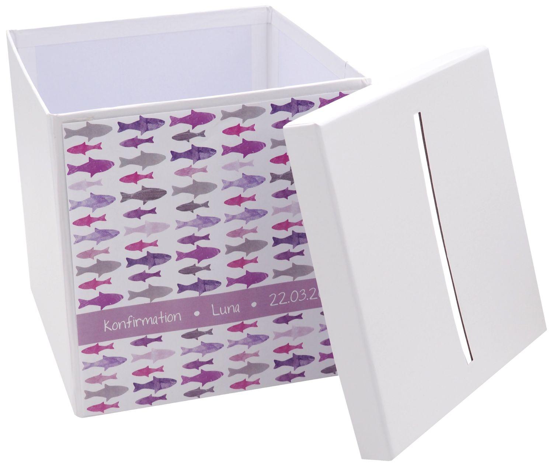 Briefbox Kartenbox MIT NAMEN Kommunion Konfirmation Fische Mauve Rosa Pink Lila