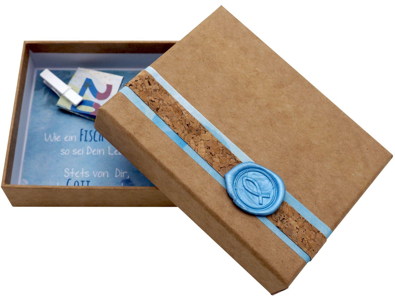 Geldgeschenk Verpackung Natur Siegel Fisch Hellblau Kommunion Konfirmation Taufe Gutschein Geschenkidee NOAH
