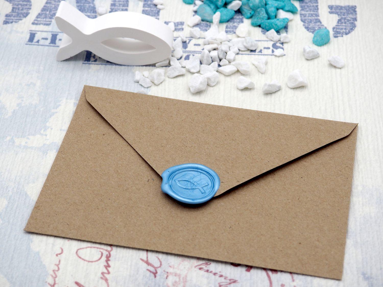 Karte Einladung Einladungskarte mit Umschlag Kommunion Konfirmation Taufe Kraftpapier Wachs Siegel Fisch Hellblau NOAH