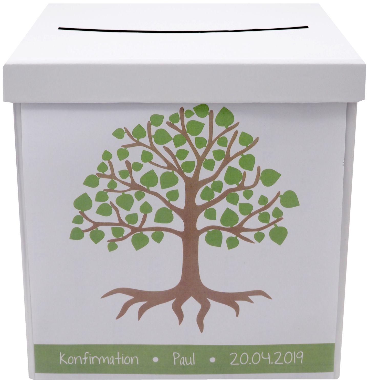 Briefbox Kartenbox MIT NAMEN Kommunion Konfirmation Baum des Lebens Grün