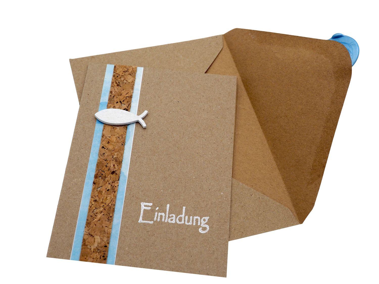 Karte Einladung Einladungskarte mit Umschlag Kommunion Konfirmation Taufe Kraftpapier Holzfisch Siegel Fisch Blau