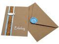 Karte Einladung Einladungskarte mit Umschlag Kommunion Konfirmation Taufe Kraftpapier Holzfisch Siegel Fisch Blau 1