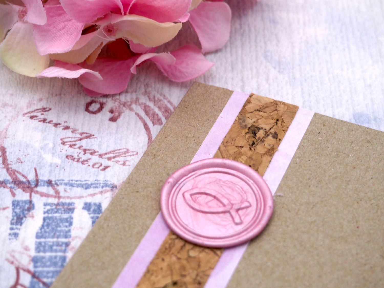 Karte Einladung Einladungskarte Kommunion Konfirmation Taufe Wachs Siegel Fisch Rosa Pink NOEMI