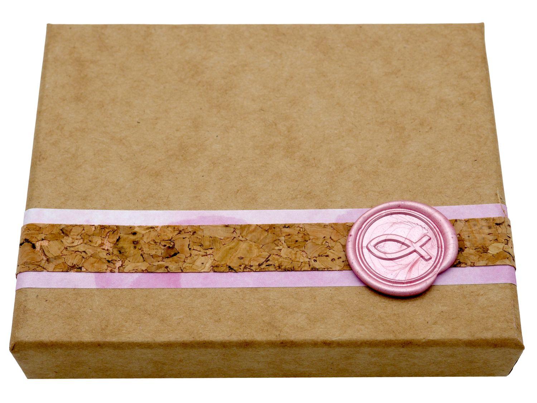 Geldgeschenk Verpackung Kommunion Konfirmation Taufe Rosa Pink Siegel Fisch Gutschein Geschenkidee NOEMI