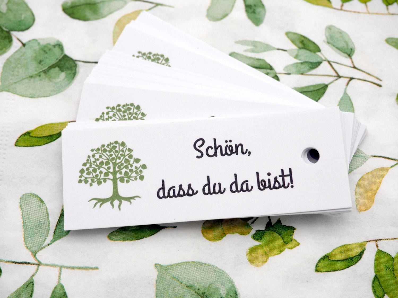25 Kärtchen Anhänger Gastgeschenke Kommunion Konfirmation Mandeln Basteln Baum des Lebens und Schön, dass du da bist