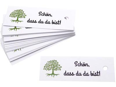 25 Kärtchen Anhänger Gastgeschenke Kommunion Konfirmation Baum des Lebens Schön, dass du da bist