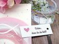 25 Kärtchen Anhänger Gastgeschenke Kommunion Konfirmation Hochzeit Mandeln Basteln Herz Rosa und Schön, dass du da bist 4