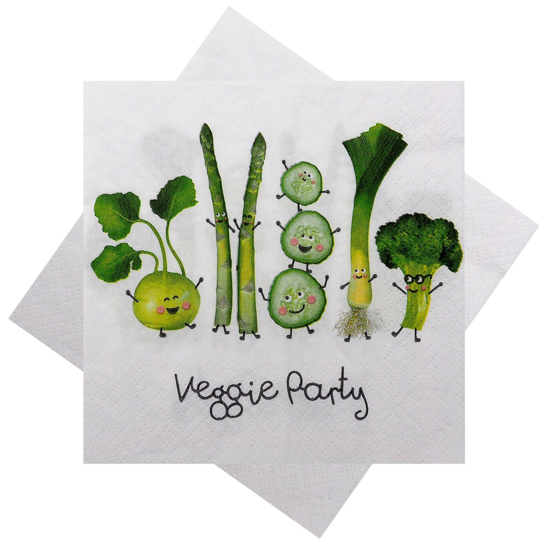 Servietten Party Veggie Party Gemüse Restaurant Garten Vegetarier Deko Terrasse Balkon Grillen 20 Stück