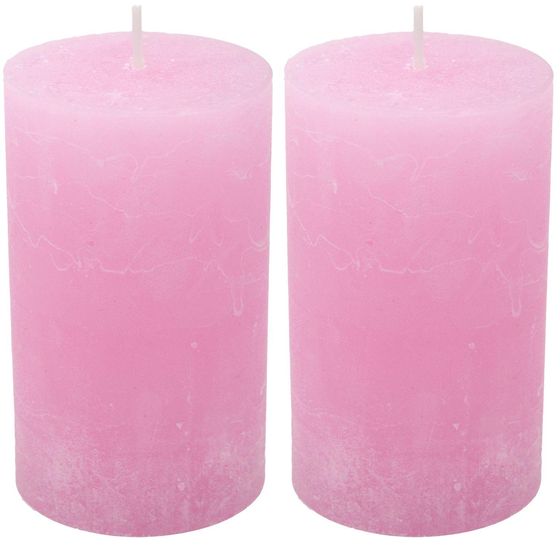 2 Stumpenkerzen Kerzen Rosa 100/60 Paraffin Taufe  Kommunion Tischdeko Deko
