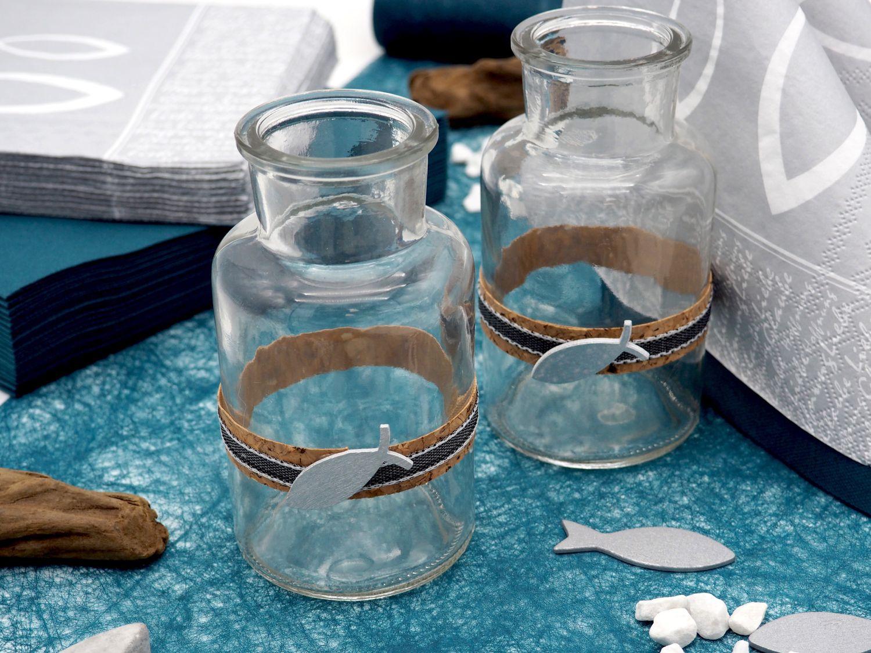 Tischdeko Kommunion Konfirmation Petrol Blau Grau Beton Fisch SET 20 Personen