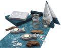 Tischdeko Kommunion Konfirmation Petrol Blau Grau Beton Fisch SET 20 Personen  1