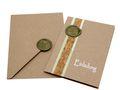 Karte Einladung Einladungskarte mit Umschlag Kommunion Konfirmation Kraftpapier Grün Wachs Siegel Baum des Lebens ELIAS 1