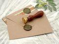Karte Einladung Einladungskarte mit Umschlag Kommunion Konfirmation Kraftpapier Grün Wachs Siegel Baum des Lebens ELIAS 7
