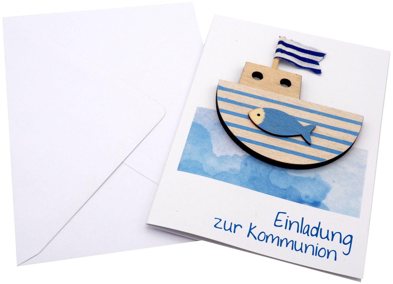 Karte Einladungskarte Einladung mit Umschlag Kommunion Boot Schiff Blau Weiß Aquarell