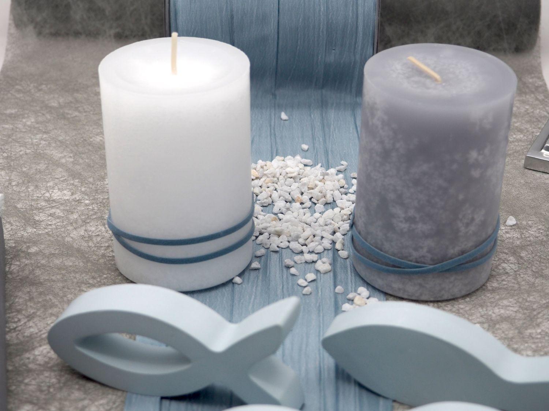 Tischdeko Kommunion Konfirmation Grau Taubenblau Blau Silber Baum des Lebens Fische SET 20 Personen