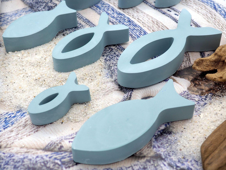 8x Deko Fisch Blau Taubenblau Tischdeko Kommunion Konfirmation Taufe