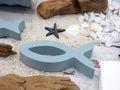 8x Deko Fisch Blau Taubenblau Tischdeko Kommunion Konfirmation Taufe 7