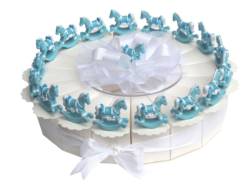 17 Gastgeschenke Torte Taufe Blau Baby Junge Schaukelpferd