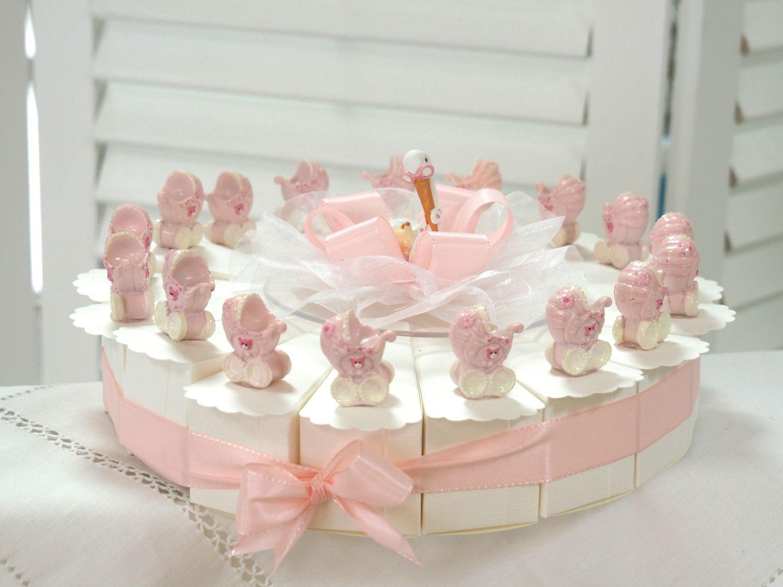 17 Gastgeschenke Torte Taufe Baby Rosa Mädchen Kinderwagen Geburt Tischdeko