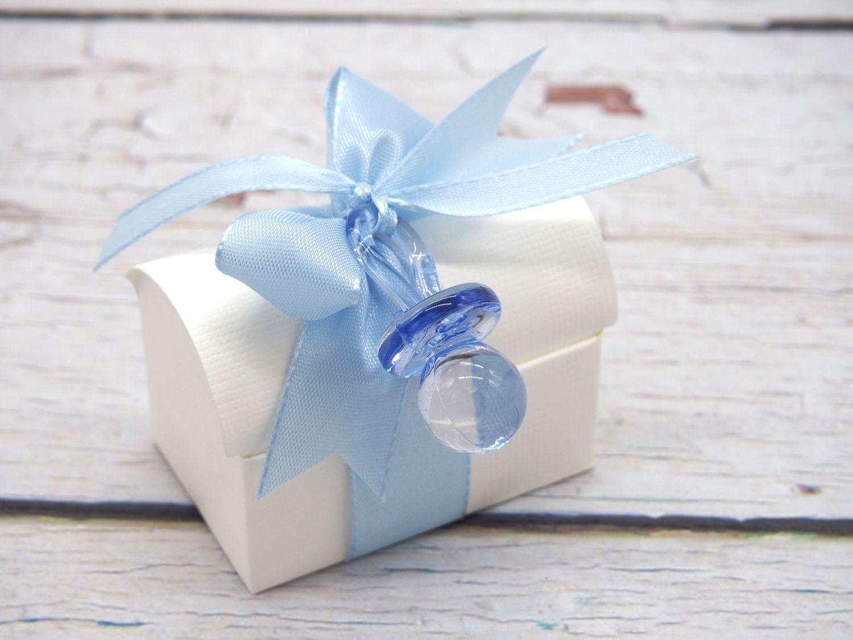 Gastgeschenk Truhe Blau Taufe Schnuller Geburt Junge Baby Tischdeko