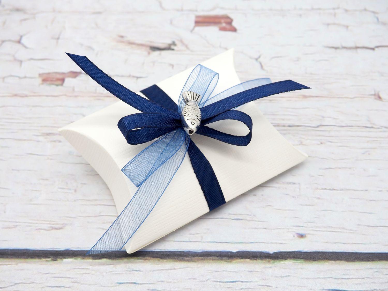 Gastgeschenk Schachtel Fisch Blau Kommunion Konfirmation Tischdeko Deko