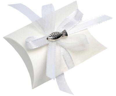 Gastgeschenk Schachtel Fisch Weiß Kommunion Konfirmation Tischdeko Deko